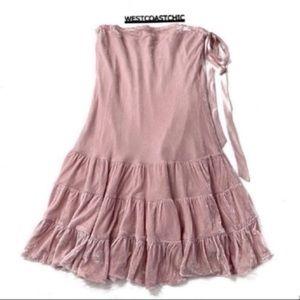 Anthropologie Odille Pink Crushed Velvet Skirt